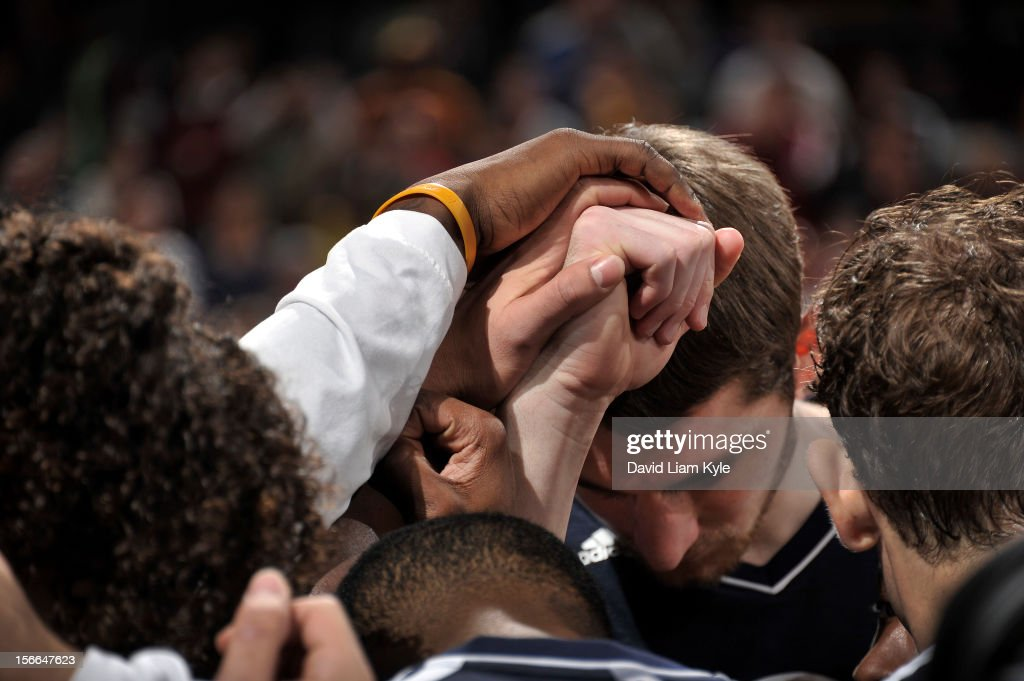 <a gi-track='captionPersonalityLinkClicked' href=/galleries/search?phrase=Tyler+Zeller&family=editorial&specificpeople=5122156 ng-click='$event.stopPropagation()'>Tyler Zeller</a> #40 of the Cleveland Cavaliers huddles together with his teammates prior to the game against the Dallas Mavericks at The Quicken Loans Arena on November 17, 2012 in Cleveland, Ohio.