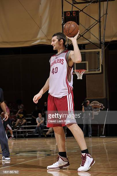 Tyler Zeller of the Cleveland Cavaliers looks to pass the ball during their annual Wine Gold Scrimmage at The Rudolph Ursprung Gymnasium on October 5...