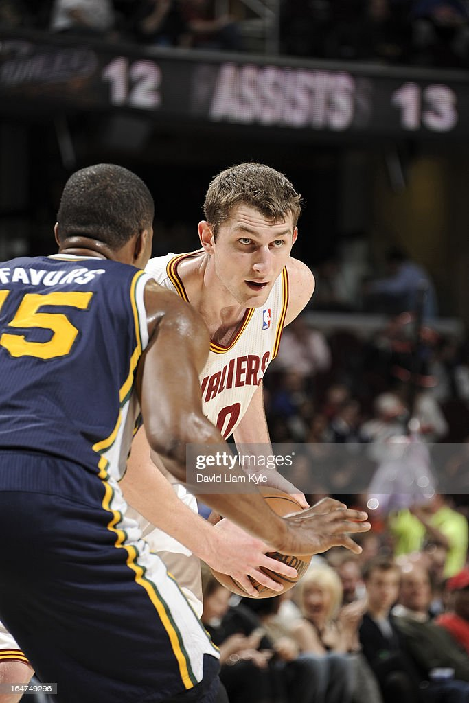 <a gi-track='captionPersonalityLinkClicked' href=/galleries/search?phrase=Tyler+Zeller&family=editorial&specificpeople=5122156 ng-click='$event.stopPropagation()'>Tyler Zeller</a> #40 of the Cleveland Cavaliers looks to pass the ball against the Utah Jazz at The Quicken Loans Arena on March 6, 2013 in Cleveland, Ohio.