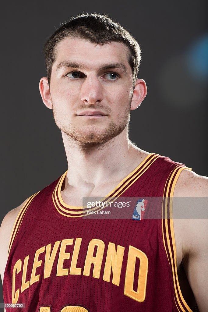 Tyler Zeller #40 of the Cleveland Cavaliers poses for a portrait during the 2012 NBA Rookie Photo Shoot at the MSG Training Center on August 21, 2012 in Tarrytown, New York.