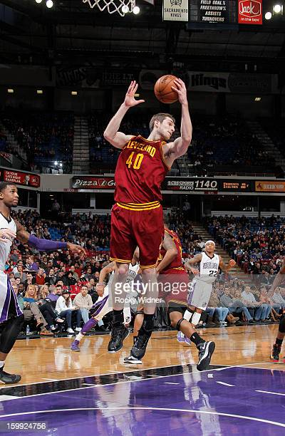 Tyler Zeller of the Cleveland Cavaliers rebounds against the Sacramento Kings on January 14 2013 at Sleep Train Arena in Sacramento California NOTE...
