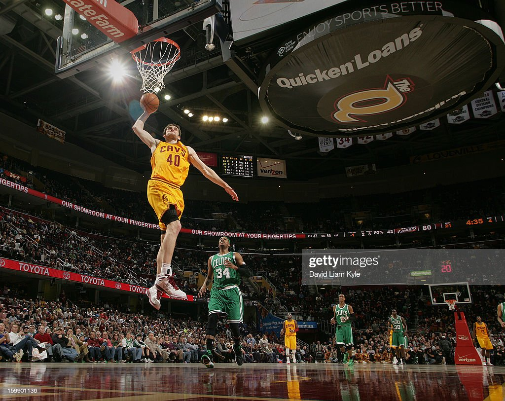 Tyler Zeller #40 of the Cleveland Cavaliers rises for a fast break dunk trailed by Paul Pierce #34 of the Boston Celtics at The Quicken Loans Arena on January 22, 2013 in Cleveland, Ohio.