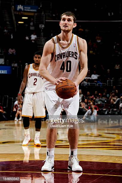 Tyler Zeller of the Cleveland Cavaliers shoots a freethrow against the Indiana Pacers during a preseason game at The Quicken Loans Arena on October...