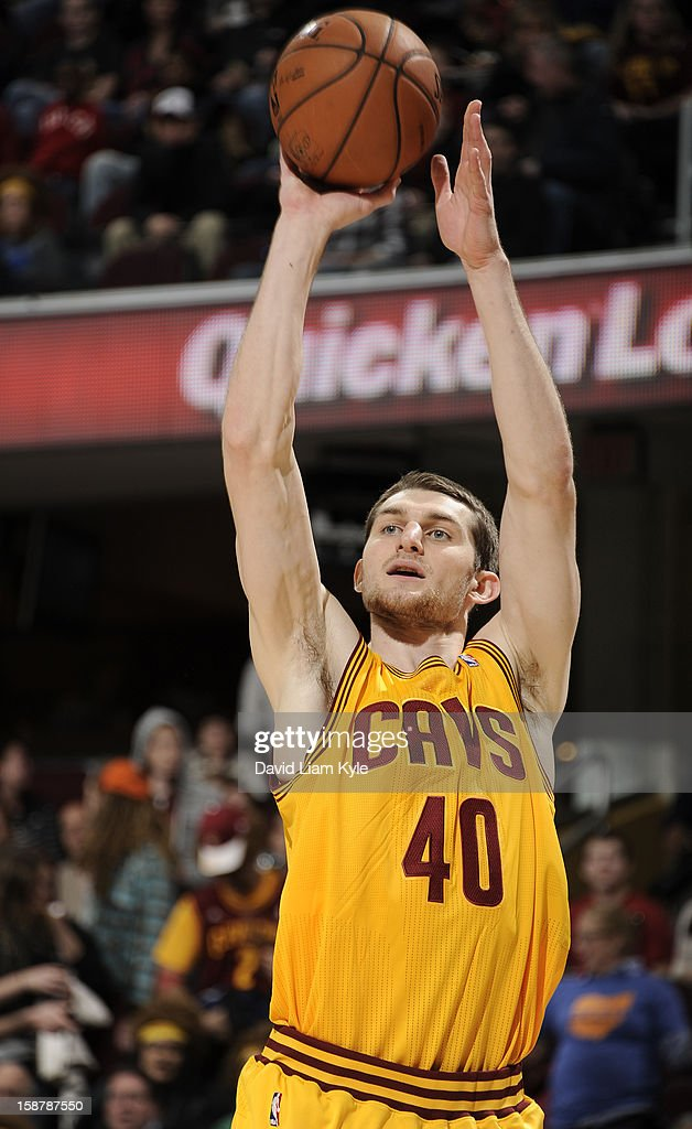Tyler Zeller #40 of the Cleveland Cavaliers shoots a jumper against the Atlanta Hawks at The Quicken Loans Arena on December 28, 2012 in Cleveland, Ohio.