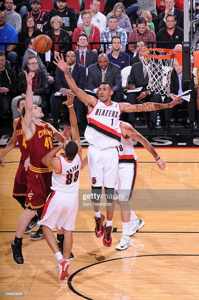 Tyler Zeller #40 of the Cleveland Cavaliers shoots against Jared Jeffries #1 of the Portland Trail Blazers on January 16, 2013 at the Rose Garden Arena in Portland, Oregon.