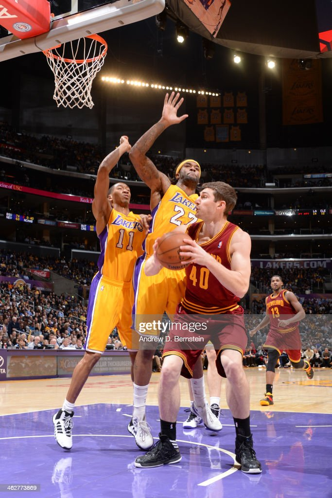 <a gi-track='captionPersonalityLinkClicked' href=/galleries/search?phrase=Tyler+Zeller&family=editorial&specificpeople=5122156 ng-click='$event.stopPropagation()'>Tyler Zeller</a> #40 of the Cleveland Cavaliers shoots against the Los Angeles Lakers at Staples Center on January 14, 2014 in Los Angeles, California.