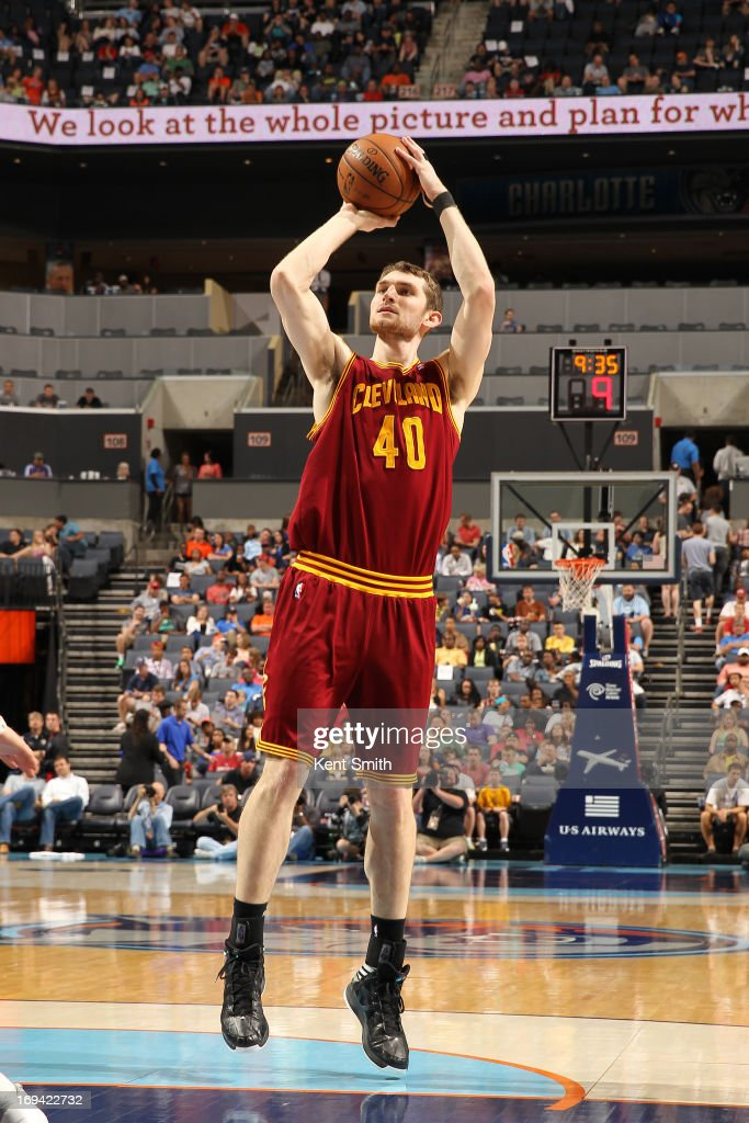 Tyler Zeller #40 of the Cleveland Cavaliers shoots the ball against the Charlotte Bobcats at the Time Warner Cable Arena on April 17, 2013 in Charlotte, North Carolina.