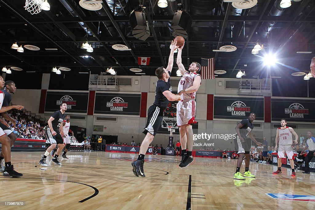 Tyler Zeller #40 of the Cleveland Cavaliers shoots the ball against the San Antonio Spurs during NBA Summer League on July 18, 2013 at Cox Pavilion in Las Vegas, Nevada.