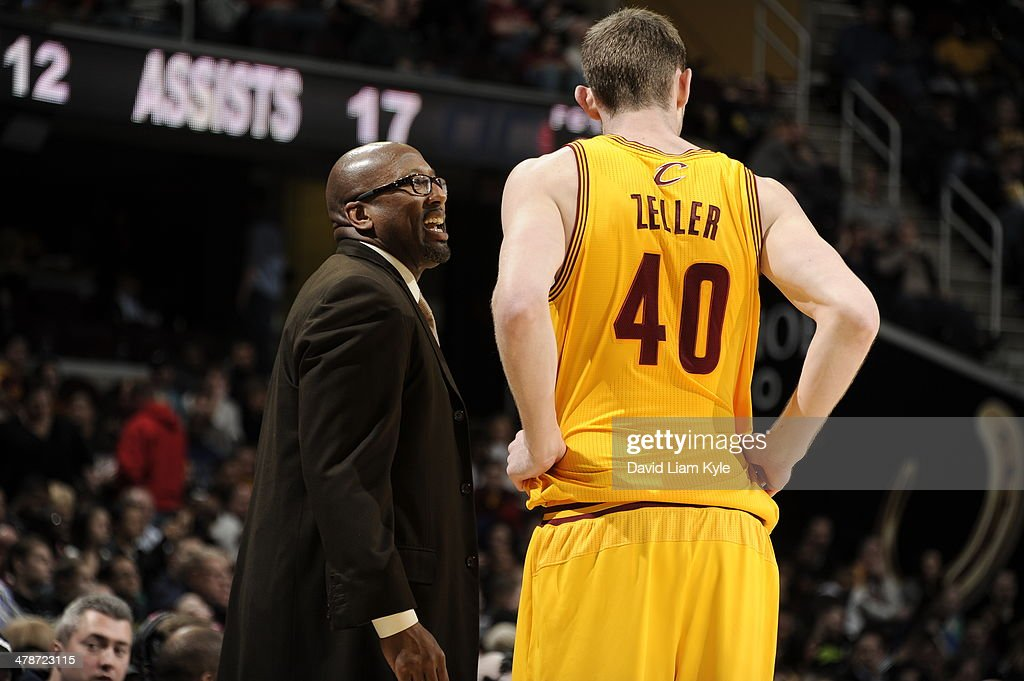 <a gi-track='captionPersonalityLinkClicked' href=/galleries/search?phrase=Tyler+Zeller&family=editorial&specificpeople=5122156 ng-click='$event.stopPropagation()'>Tyler Zeller</a> #40 of the Cleveland Cavaliers talks with Head Coach Mike Brown during a game against the Washington Wizards at The Quicken Loans Arena on February 23, 2014 in Cleveland, Ohio.