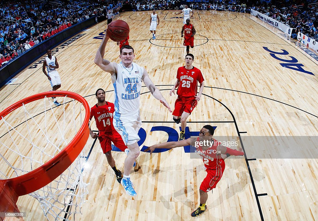 <a gi-track='captionPersonalityLinkClicked' href=/galleries/search?phrase=Tyler+Zeller&family=editorial&specificpeople=5122156 ng-click='$event.stopPropagation()'>Tyler Zeller</a> #44 of the North Carolina Tar Heels dunks in the first half against the Maryland Terrapins during the Quarterfinals of the 2012 ACC Men's Basketball Conferene Tournament at Philips Arena on March 9, 2012 in Atlanta, Georgia.