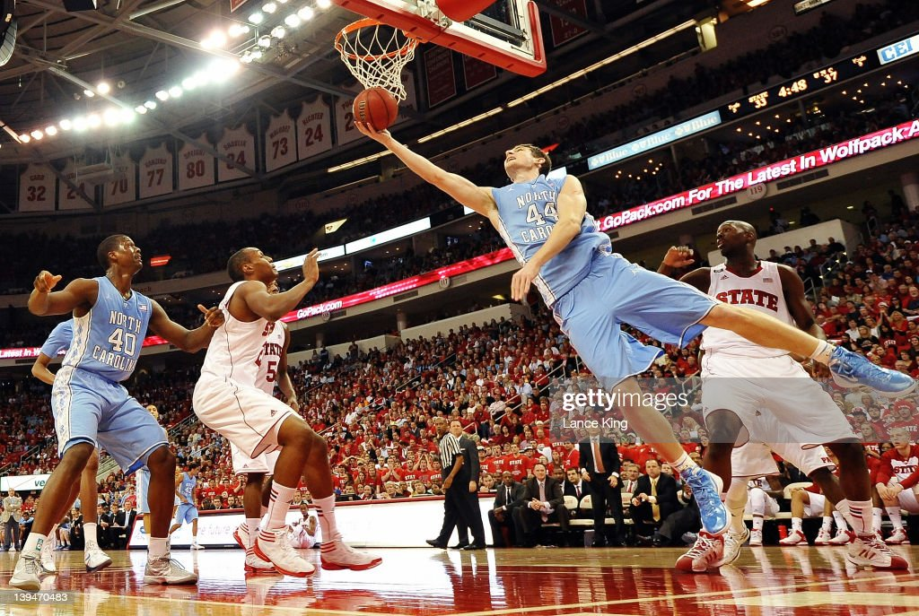 <a gi-track='captionPersonalityLinkClicked' href=/galleries/search?phrase=Tyler+Zeller&family=editorial&specificpeople=5122156 ng-click='$event.stopPropagation()'>Tyler Zeller</a> #44 of the North Carolina Tar Heels goes to the hoop against the North Carolina State Wolfpack during the first half at the RBC Center on February 21, 2012 in Raleigh, North Carolina.