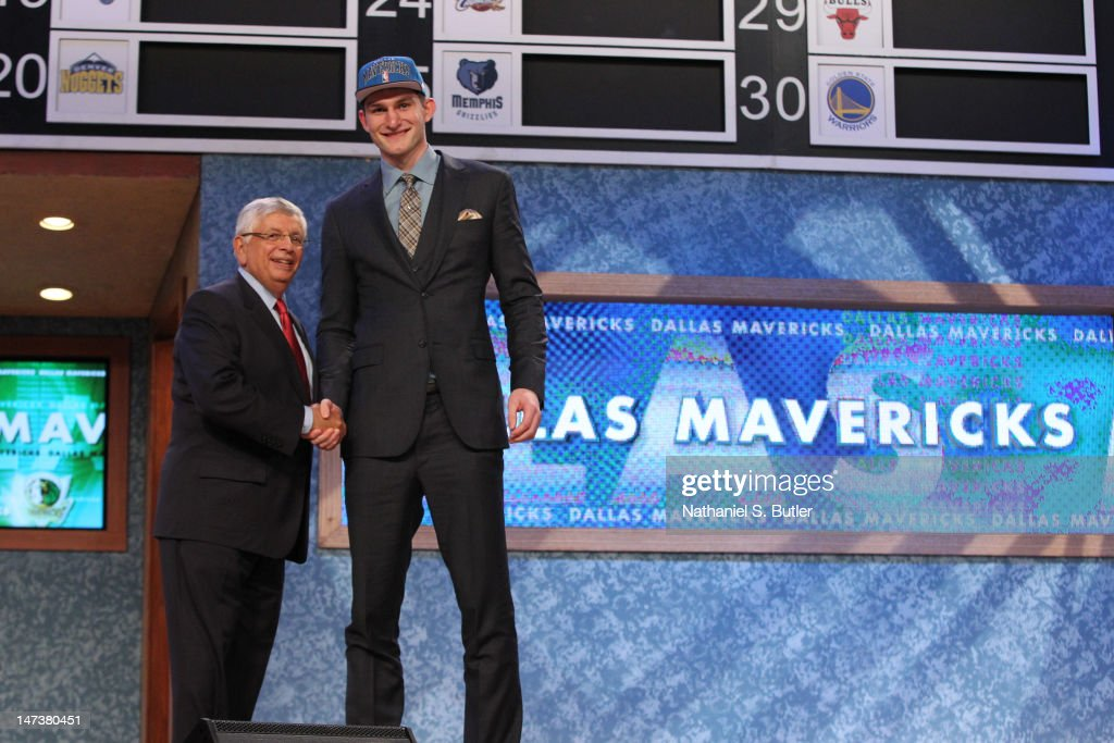 Tyler Zeller shakes hands with NBA Commissioner David Stern after being selected number seventeen overall by the Dallas Mavericks during the 2012 NBA Draft at the Prudential Center on June 28, 2012 in Newark, New Jersey.