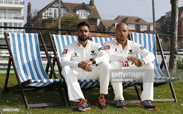 Tymal Mills and Ajmal Shahzad sit on deck chairs during the Sussex County Cricket Photocall at BrightonandHoveJobscom County Ground on April 9 2015...