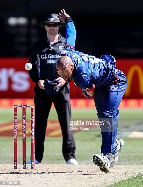 Tymal Mills bowls during the McDonalds Super Smash T20 match between the Auckland Aces and Otago Volts at Eden Park on December 4 2016 in Auckland...