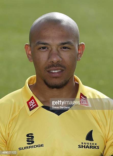 Tymal Mills during the Sussex County Cricket Photocall at BrightonandHoveJobscom County Ground on April 9 2015 in Hove England