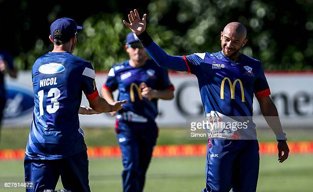Tymal Mills of Auckland celebrates a wicket during the McDonalds Super Smash T20 match between the Auckland Aces and Otago Volts at Eden Park on...