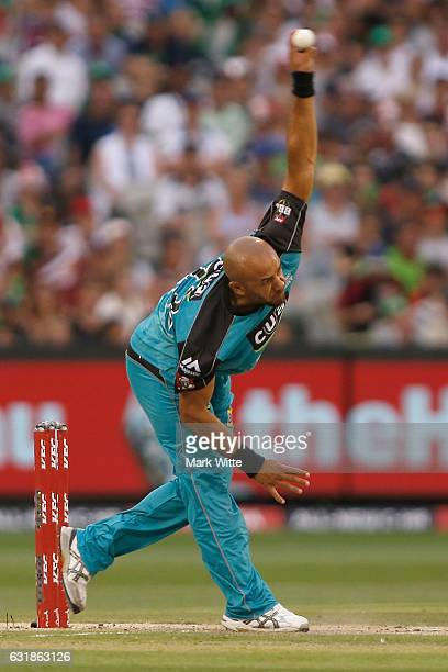 Tymal Mills of Brisbane Heat bowls the ball during the Big Bash League match between the Melbourne Stars and the Brisbane Heat at Melbourne Cricket...