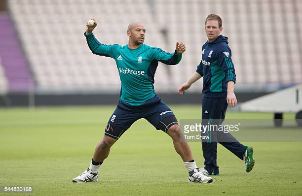 Tymal Mills of England in action during the England nets session at Ageas Bowl on July 4 2016 in Southampton England
