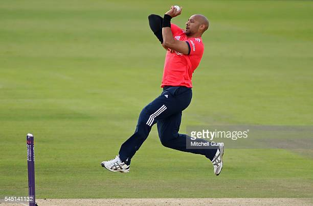 Tymal Mills of England plays a shot during the Natwest International T20 played between England and Sri Lanka at The Ageas Bowl on July 5 2016 in...