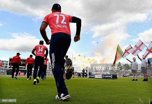 Tymal Mills of England runs out ahead of the Natwest International T20 match between England and Sri Lanka at Ageas Bowl on July 5 2016 in...