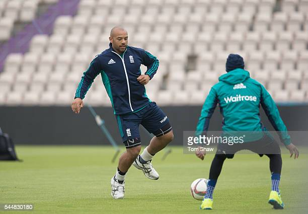 Tymal Mills of England warms up during the England nets session at Ageas Bowl on July 4 2016 in Southampton England
