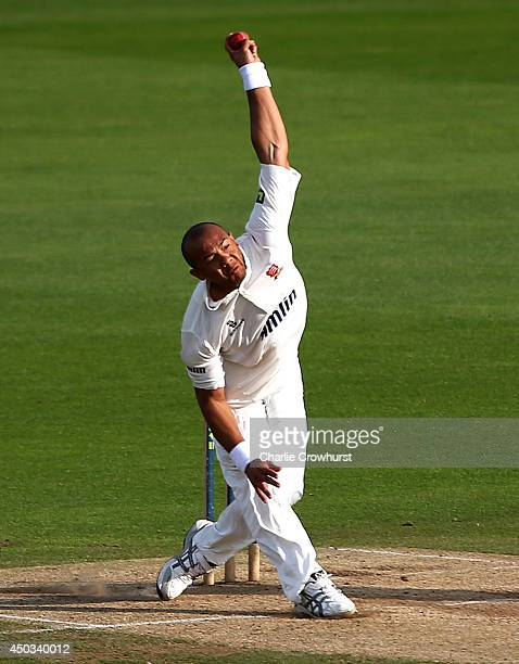 Tymal Mills of Essex bowls during day three of the LV County Championship match between Kent and Essex at The Spitfire Ground St Lawrence on June 09...