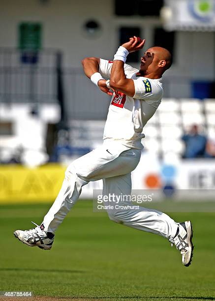 Tymal Mills of Sussex bowls during day one of the friendly match between Sussex and Surrey at The BrightonandHoveJobscom County Ground on April 07...
