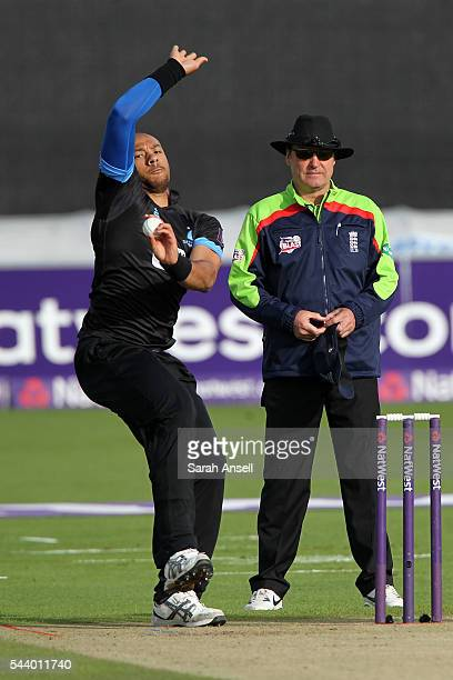 Tymal Mills of Sussex bowls during the NatWest T20 Blast match between Kent and Sussex at The Spitfire Ground on June 30 2016 in Canterbury England