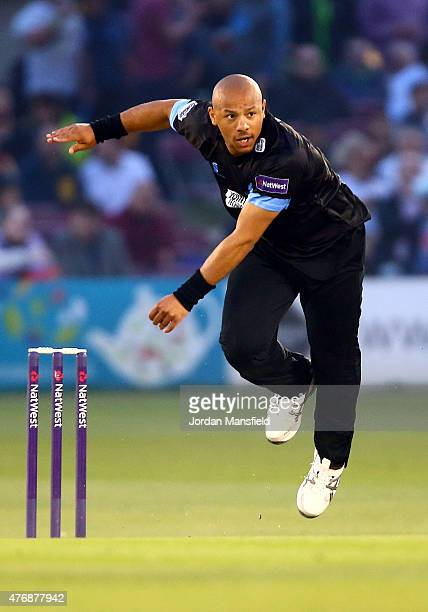 Tymal Mills of Sussex bowls during the T20 Blast match between Sussex Sharks and Essex Eagles at BrightonandHoveJobscom County Ground on June 12 2015...