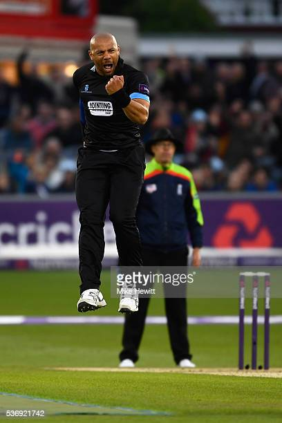 Tymal Mills of Sussex celebrates after bowling Chris Gayle of Somerset for 5 during the NatWest T20 Blast between Sussex and Somerset at The 1st...