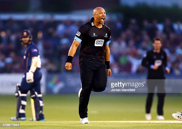 Tymal Mills of Sussex celebrates after bowling out Jesse Ryder of Essex during the T20 Blast match between Sussex Sharks and Essex Eagles at...