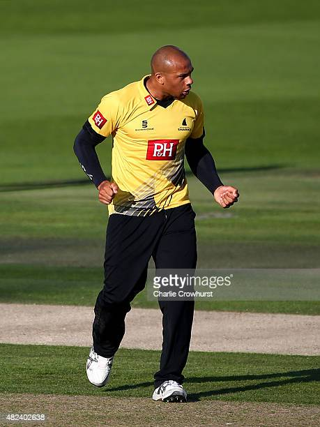 Tymal Mills of Sussex celebrates after taking the wicket of Alex Hales of Nottinghamshire during the Royal London OneDay Cup match between Sussex and...