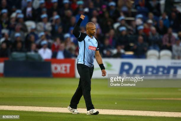 Tymal Mills of Sussex celebrates taking the wicket of Tom Curran of Surrey during the NatWest T20 Blast match between Sussex Sharks and Surrey at The...
