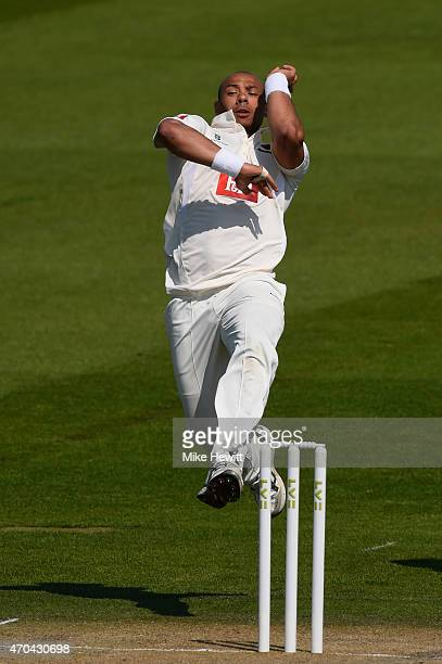 Tymal Mills of Sussex in action during the LV County Championship match between Sussex and Gloucestershire at BrightonandHoveJobscom County Ground on...