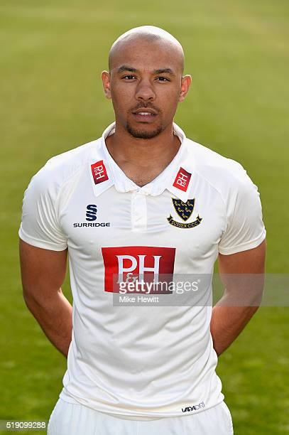 Tymal Mills of Sussex poses for a portrait during the Sussex Media Day at the County Ground on April 4 2016 in Hove England