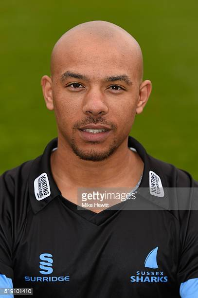 Tymal Mills of Sussex poses for a portrait in the NatWest T20 Blast outfit during the Sussex Media Day at the County Ground on April 4 2016 in Hove...