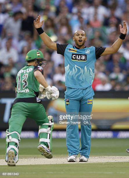Tymal Mills of the Brisbane Heat reacts as the ball is miss fielded during the Big Bash League match between the Melbourne Stars and the Brisbane...