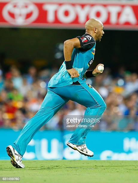 Tymal Mills of the Heat during the Big Bash League match between the Brisbane Heat and the Perth Scorchers at The Gabba on January 11 2017 in...