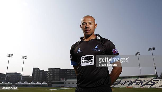 Tymal Mills poses for a portrait during the Sussex County Cricket Photocall at BrightonandHoveJobscom County Ground on April 9 2015 in Hove England
