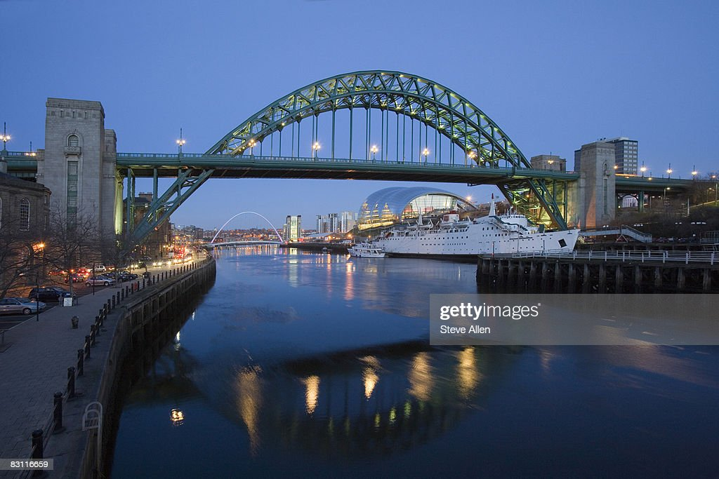 Tyne Bridge and Millennium Bridge over the River Tyne, Newcastle-upon-Tyne, United Kingdom : Stock Photo