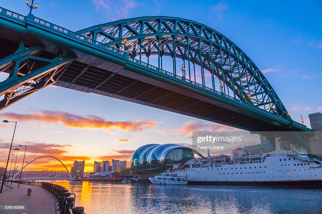 Tyne Bridge in Newcastle at sunrise.