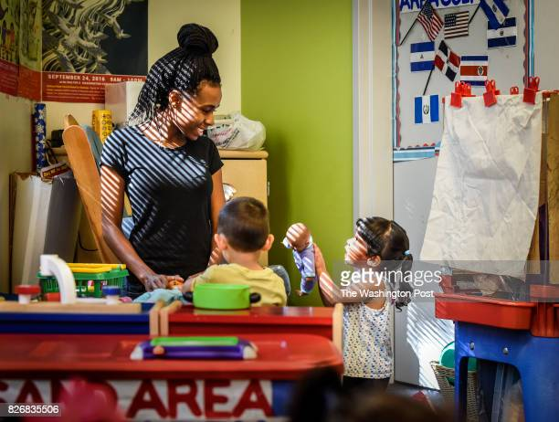 Tyonna Stinnie left working toward her certification at SED Child Development Center training for potential child care workers on August 2017 in...