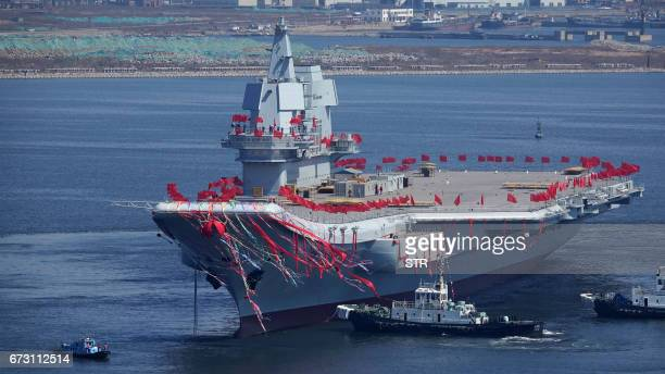 Type 001A China's second aircraft carrier is seen during a launch ceremony at Dalian shipyard in Dalian northeast China's Liaoning Province April 26...