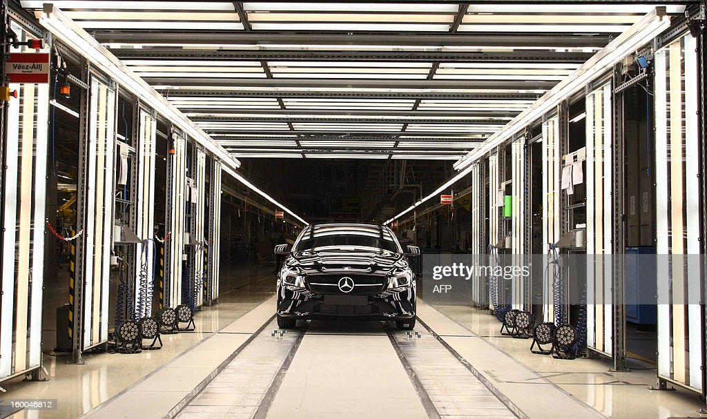 ACLA type Mercedes leaves the production line of the new factory of German car maker Daimler AG Mercedes Benz in Kecskemet, Hungary on January 25, 2013. German luxury car maker Daimler has completed construction of an 800 million Euro factory in Kecskemet. The project is the largest new investment by far in recent years in Hungary and one which highlights the government's ambivalent relationship to investors. AFP PHOTO / STR