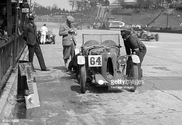 MG C type of FM Montgomery and R Hebeler at the JCC Double Twelve race Brooklands 8/9 May 1931 MG C 746 cc Event Entry No 64 Driver Montgomery FM...