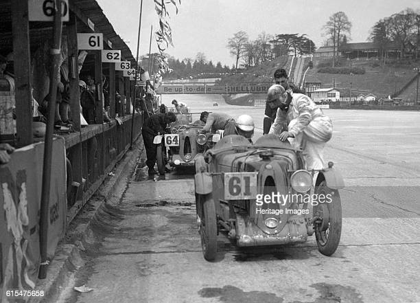 MG C types at the JCC Double Twelve race Brooklands 8/9 May 1931 MG C 746 cc No 61 Driver Packer HD Cox GK Finished 4th Background MG C 746 cc No 64...
