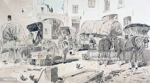 Types Of Carriages Used During The 19Th Century After A Watercolour By A Heins From Cortege Historique Des Moyens De Transport Published Brussels 1886