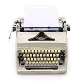 Top view of a typewriter from the 70s with blank paper for text, isolated on white background. Contains clipping path.