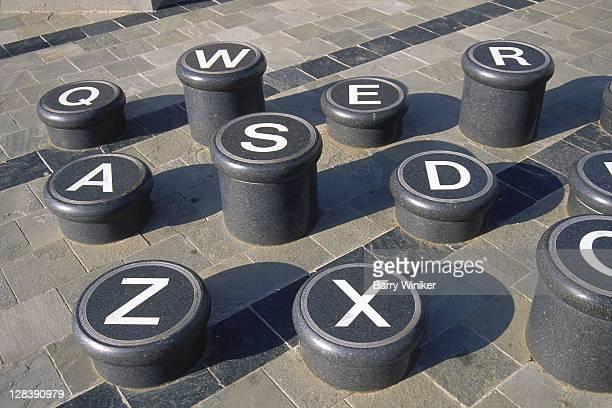 Typewriter keys sculpture outside ImaginON, Charlotte, North Carolina,