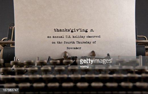 Typewriter Typing Definition Of Thanksgiving On White ...
